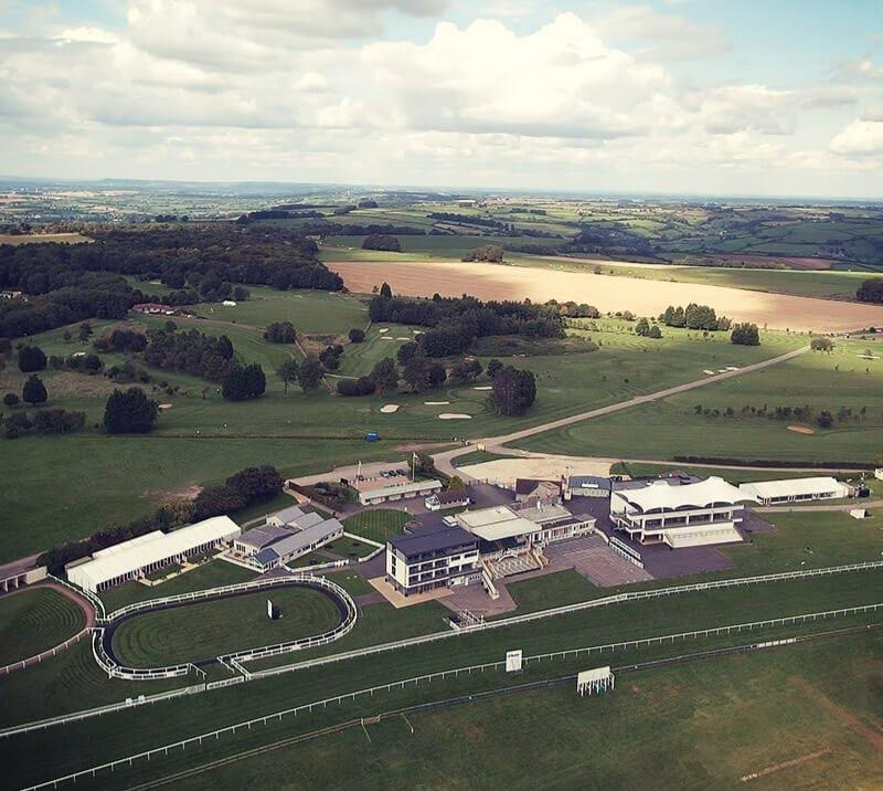 Aerial view of the Bath Racecourse.
