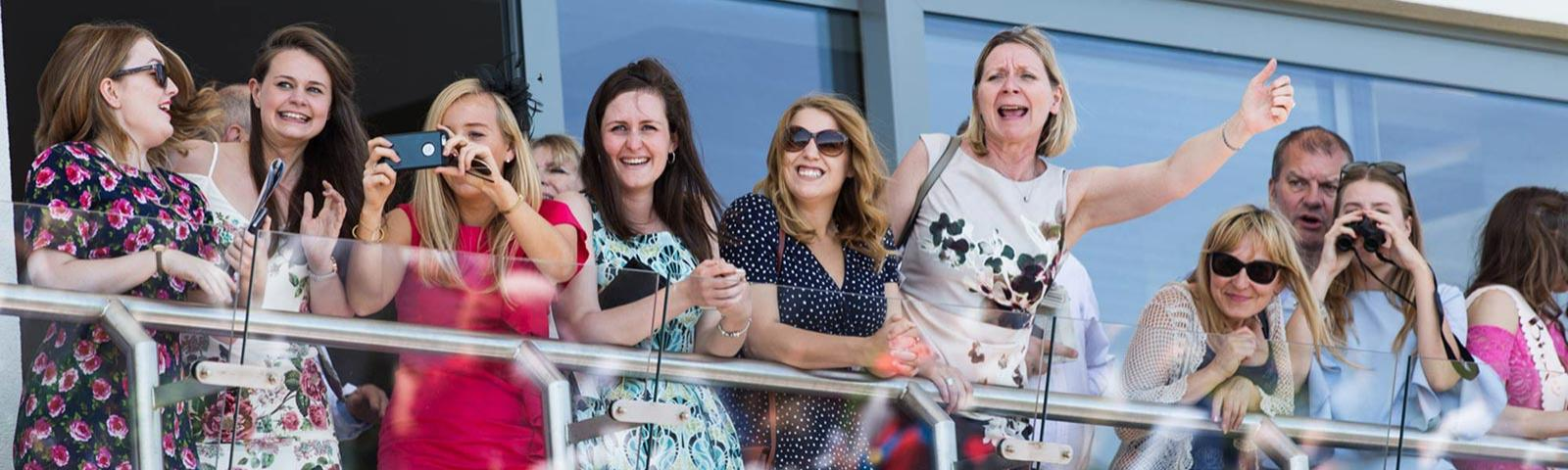 A group of friends enjoy some top quality racing at Bath Racecourse.