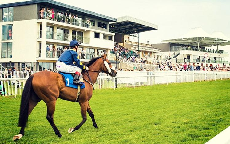 Jockey on a horse trotting across the track, in front of racegoers at Bath Racecourse.