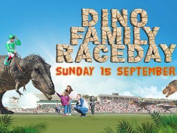 Promotional banner for Bath Racecourse's Dino Family Raceday on Sunday 15 September