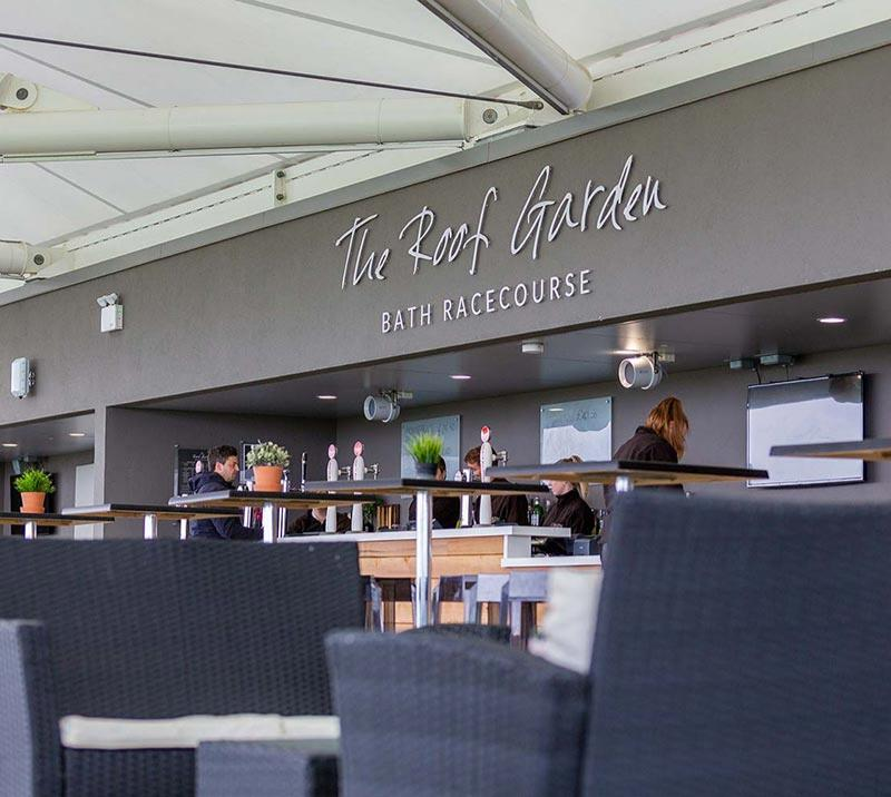 View of the bar counter in the Roof Garden bar at Bath Racecourse.
