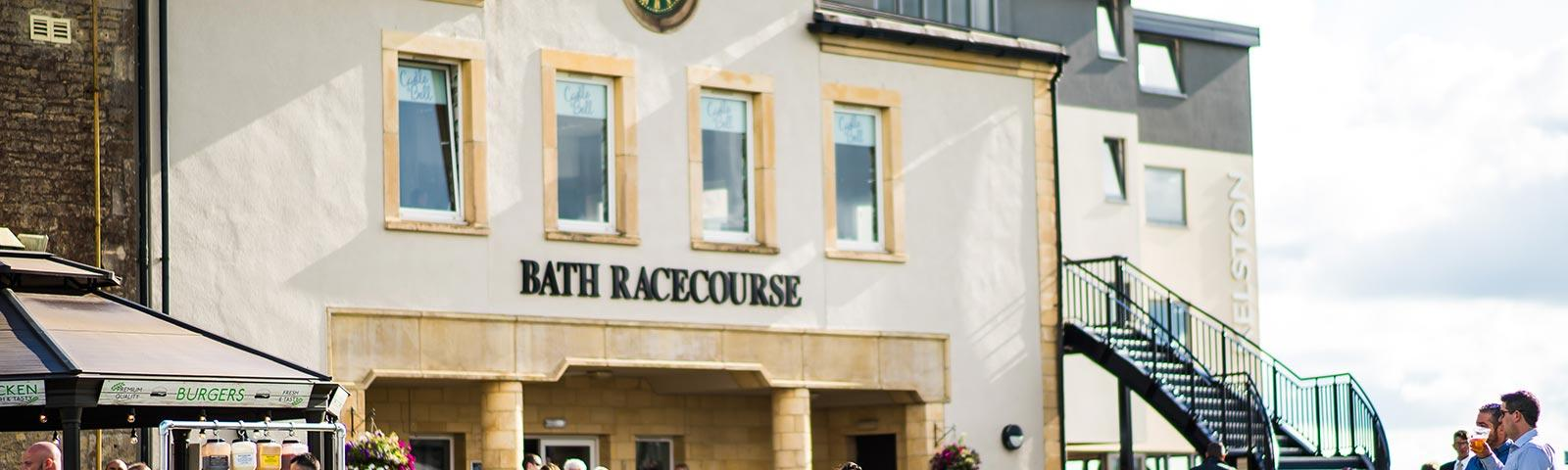 Main entrance to the Bath Racecourse grandstand.